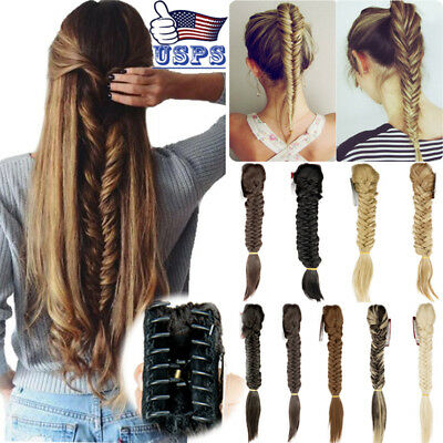 Hair Extensions no Clip In Braided Ponytail Claw Plaited Synthetic Hair Pieces A