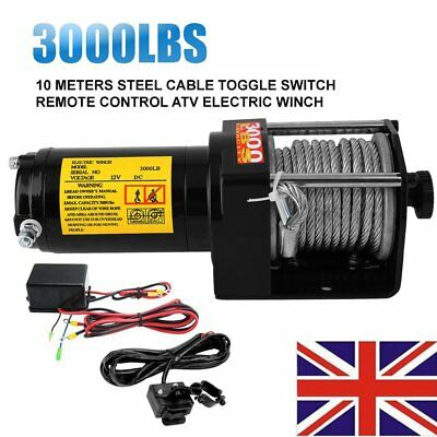 Electric Winch 12V 3000 Lbs Recovery Synthetic Rope Wire Remote Steel Wire