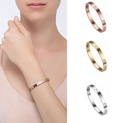Women Bangle Bracelet Screw Embossed Prom Party Bridal Jewelry Sliver Rose Gold