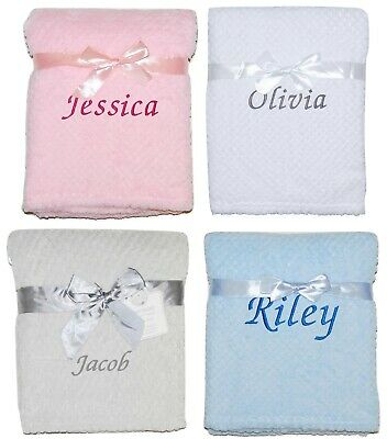 Baby Girl Boy Personalised Blanket Embroidered Name Pink Blue Grey White