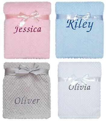 Baby Girl Boy Personalised Blanket Embroidered Name