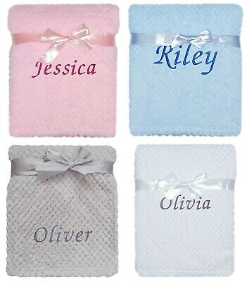 Baby Girl Boy Personalised Embroidered Name Blanket