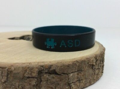 SALE ASD Autism Wristband Medical Alert ID Black Teal Band Boys Girls 152mm