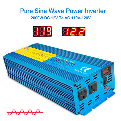 2000w 4000w pure sine wave power inverter DC 12v to AC 110v Car Converter travel