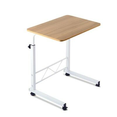 Portable Adjustable Mobile Wooden Laptop Study Desk Stand Bed Side Table Wheels