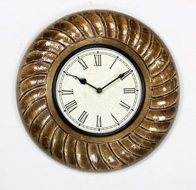 """Antique Vintage Hand Made Ethnic Wooden Brass Finish 12"""" Wall Clock-0051"""