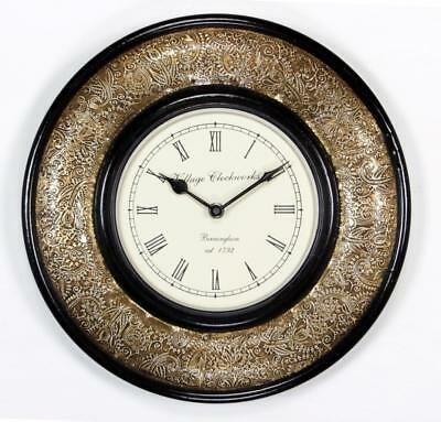 """Antique Vintage Hand Made Ethnic Wooden Brass Finish 12"""" Wall Clock-006"""