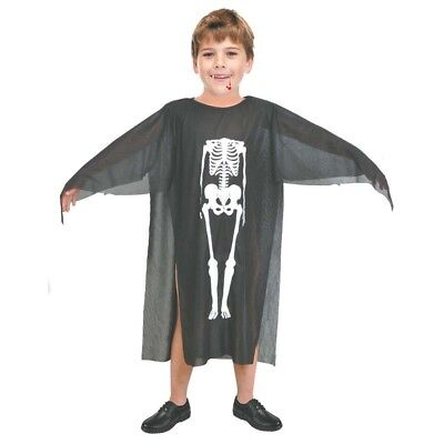 Skeleton Black Suit Adults Skull Boned Child Halloween Party Fancy Dress Costume