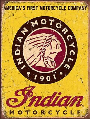 INDIAN MOTORCYCLE USA Bike Service VINTAGE METAL TIN RETRO GARAGE BAR CAVE SIGN
