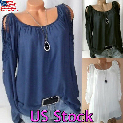 US Womens Cold Shoulder Lace Long Sleeve Tops Blouse Ladies Casual T Shirt Tee