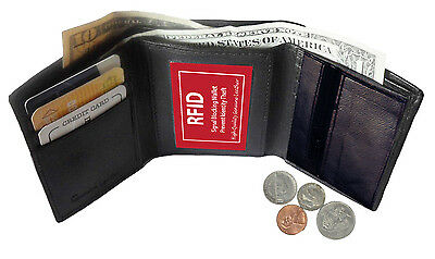 Rfid Block Mens Leather Trifold Wallet Id Card Holder Plain Coin Zip Pocket