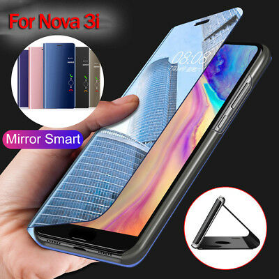 For Huawei Nova 3i Clear View Phone Case Smrat Mirror Flip Leather Stand Cover