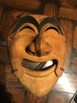 Vintage Hand Carved Wood Korean MASK Asian Art Theater Acting Actor