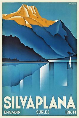 Vintage Art Deco Swiss Travel Poster Silvaplana 1930s Mountains Lake Retro Print