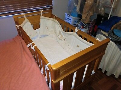 Soild Timber Baby Cot & Mattress- Kingparrot Hamilton by Boori with side panel