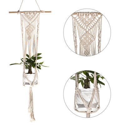 Vintage Macrame Plant Hanger Flower Pot Garden Holder Legs Hanging Rope Basket
