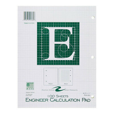 "Engineer Pad 8.5""x11"" Green, 100 sheets, Engineering Paper"