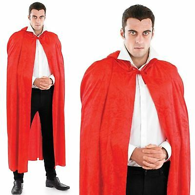 Mens Womens Long Red Velour Hooded Cape Cloak Riding Hood Fancy Dress Costume