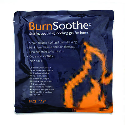 BurnSoothe Cooling Sterile First Aid Hydrogel Relief Burn Dressing Face Mask
