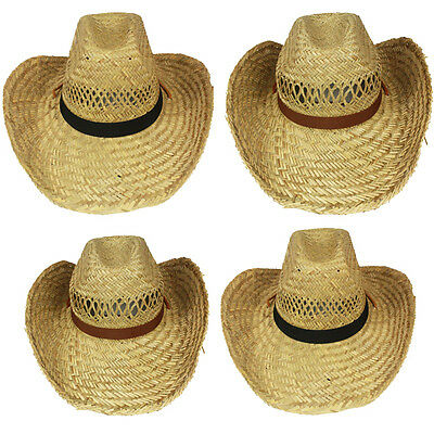 NEW HIGH QUALITY COWBOY Western HAT NATURAL STRAW Cowgirl Rodeo Cap MEN WOMEN