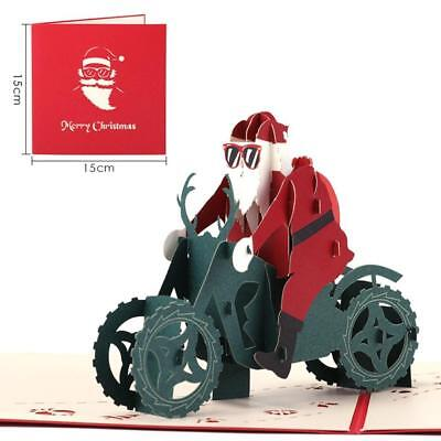 3D Up Christmas Cards Blessing Gift Santa Claus Riding Motorcycle Cards