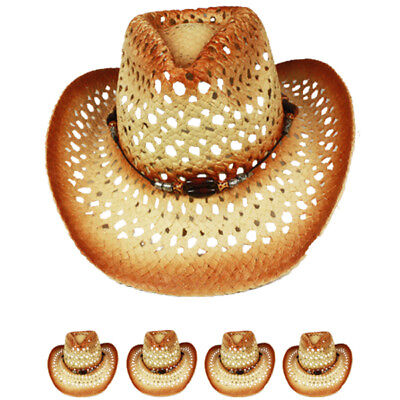 12PCS COWBOY Western HAT Cap BROWN Cowgirl Rodeo MEN WOMEN hat Christmas Gift