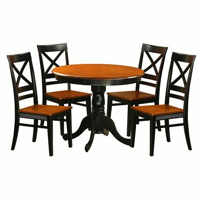 East West Furniture Antique 5 Piece Pedestal Dining Table Set with Quincy