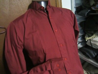 CRIMSON RED burgundy Tuxedo Wing Tip Button front formal SHIRT mens S Small EUC