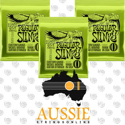 x3 Ernie Ball 2221 Regular Slinky Electric Guitar Strings 10-46 | 3 Sets [New]