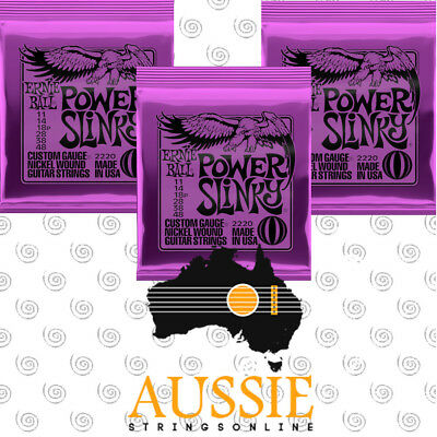 3x Sets Ernie Ball 2220 Power Slinky Electric Guitar Strings 11-48 | 3 New Packs