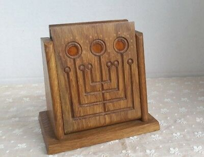 Vintage Oak Cigarette Box Dispenser Arts and Crafts with Copper and Lucite 1930s