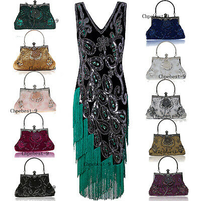 1920s Dress Great Gatsby Costumes Prom Gowns 20's Party Cocktail Evening Handbag
