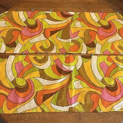 Pair Of Vintage 1960s 1970s Groovy Psychedelic Hippie Abstract Valance Curtains
