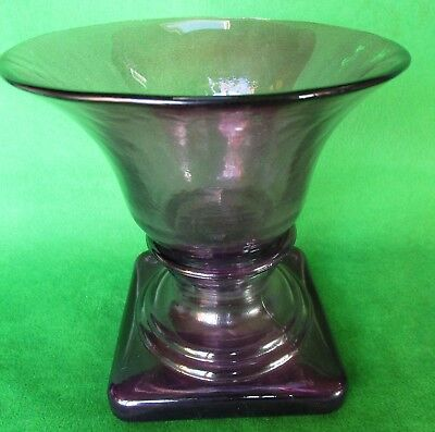 Amethyst Purple Glass Flower Urn Vase/candle Holder- Square Base - Heavy
