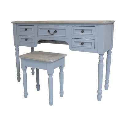 French Style Dressing Table Antique Grey Furniture Large Vintage Room Stool Set