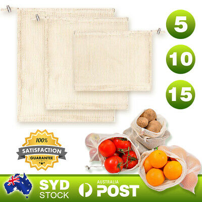 5-15X Reusable Eco Natural Cotton Mesh Produce Bags Grocery Storage Shopping