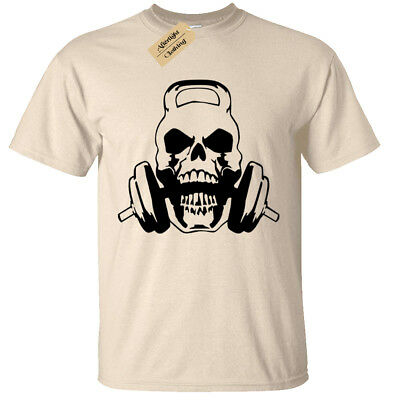 Skull Kettlebell Mens T Shirt S-5XL weight lifting gym training bodybuilding mma