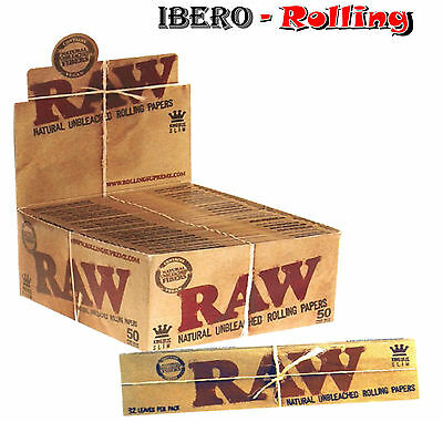 Papel natural RAW King Size, 25 libritos de 32 hojas papel largo natural 110 mm