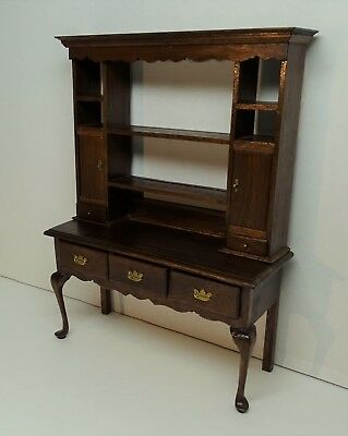 SUPERB Signed Jeanne Chapman Dollhouse Miniature Furniture Hutch Desk? 1982