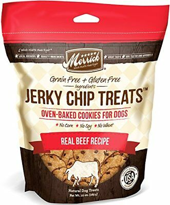 Merrick Jerky Chip Treats Real Beef Recipe 10 ounces.