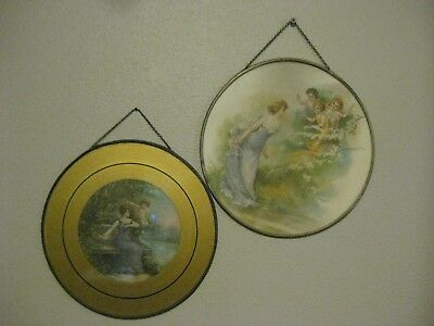 """2-ANTIQUE 9&1/2"""" ROUND GLASS WALL HANGING PICTURES or PAINTINGS LADIES W/CHERUBS"""