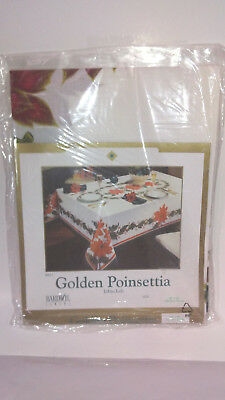golden poinsettia  christmas table cloth  52x52 square new