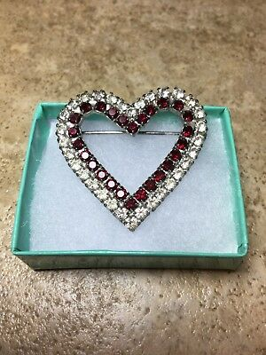 Antique Vintage Gorgeous Valentine Heart Shape Clear/Ruby Facets/Pongs Brooch