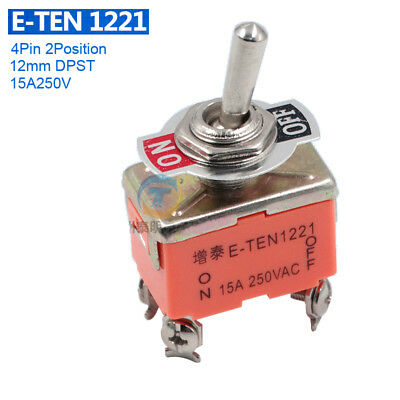 12mm On-Off DPST Toggle Switch 4Pin 2Position 14A250V Latching E-TEN 1221 Switch