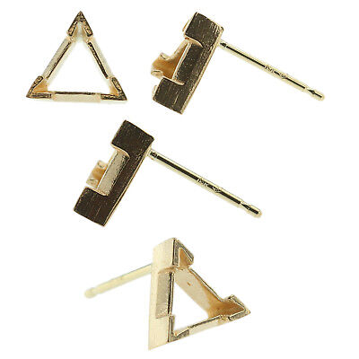 14k Yellow Gold V-End Triangle Stud Earring Mounting Setting Push Back Post
