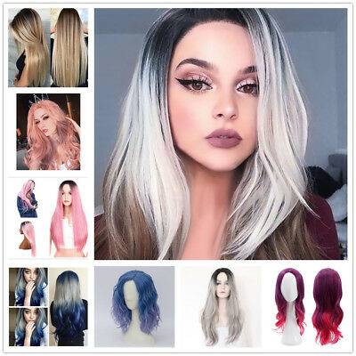 ladies medium Short Straight Bob Wig lace wigs Hair Womens colored grey cosplay