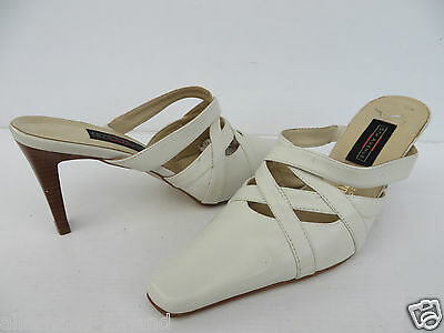 5th AVENUE # chice SABOTS Gr. 39 weiß Leder Damen Schuhe Pumps Sandalen Clogs