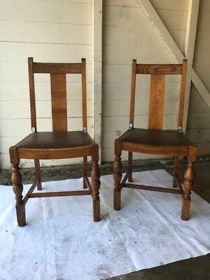 Two Old Mission Style Chairs with Brown Leather Seats