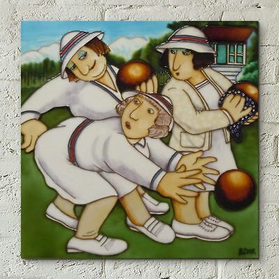 Bowlers by Beryl Cook 12x12 Decorative Ceramic Tile Plaque Wall Art Ornament