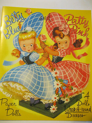 BETTY BLUE AND PATTY PINK Paper Doll Book w/4 Dolls & Wrap-Around Dresses, 2016